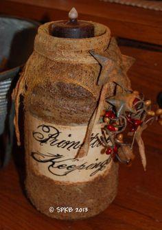 Grubby Tea light jar Primitive Mason Jars, Primitive Candles, Primitive Crafts, Primitive Christmas, Country Primitive, Wine Bottle Crafts, Mason Jar Crafts, Gallon Glass Jars, Primitive Curtains