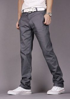 $12.88 Fashion Style Personality Embellished Waist Zipper Fly Solid Color Slimming Straight Leg Cotton Pants For Men