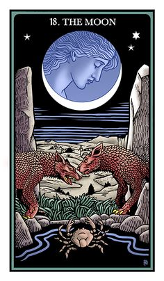 The Moon. The Raziel Tarot: the Secret Book of Adam and Eve (Robert Place & Rachel Pollack). In final published edition will not be roman numerals. Nocturne, Accurate Tarot Reading, The Moon Tarot Card, Astro Tarot, Tarot Cards For Beginners, Tarot Prediction, Divination Cards, Online Tarot, Arte Tribal