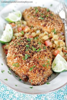 Coconut Pork Chops with Pineapple Salsa: Pork chops get a tropical sweet and sour twist with a coconut panko crust and a grilled pineapple salsa