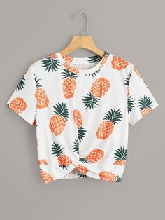 Shein Pineapple Print Twist Front Tee Source by ShopStyle playeras Cute Comfy Outfits, Cute Girl Outfits, Cute Summer Outfits, Pretty Outfits, Stylish Outfits, Teenage Girl Outfits, Girls Fashion Clothes, Teen Fashion Outfits, Outfits For Teens