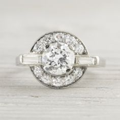 Estate Vintage Art Deco diamond 1.19 Carat Vintage Art Deco Engagement Ring. circa 1920.