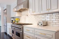 Light Gray Kitchen Cabinets with Gold Hardware, Transitional, Kitchen, Sherwin Williams Gray Screen
