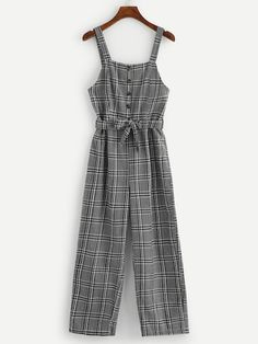 Shop Button Front Belted Plaid Jumpsuit at ROMWE, discover more fashion styles online. Cute Casual Outfits, Pretty Outfits, Stylish Outfits, Girls Fashion Clothes, Teen Fashion Outfits, Mode Hipster, Jumpsuits For Girls, Long Jumpsuits, Teenager Outfits
