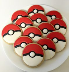 ▷ 1001 + ideas for a beautiful Pokemon cake for your birthday child - plate with small pokemon cakes – they look like red pokemon balls - Birthday Cake Cookies, Birthday Cakes For Men, Pokemon Birthday Cake, 7th Birthday, Cut Out Cookies, Iced Cookies, Cute Cookies, Royal Icing Cookies, Sugar Cookies