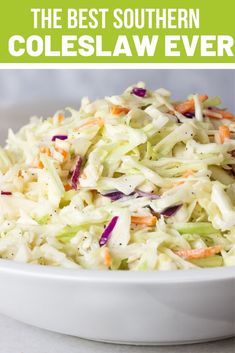 Southern Coleslaw Recipe also known as Cole Slaw with shredded cabbage, mayonnaise, apple cider vinegar, lemon juice and sugar are just some of the dressing ingredients. Everybody loves this crunchy, tangy and creamy 5 minute slaw. So tasty and easy! Healthy Coleslaw Recipes, Best Coleslaw Recipe, Bbq Slaw Recipe, Best Southern Coleslaw Recipe, Gluten Free Coleslaw Recipe, Caribbean Coleslaw Recipe, Salad Recipes, Mayonnaise, Salads