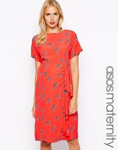ASOS Maternity Waterfall Dress In Bird Print | Size 6