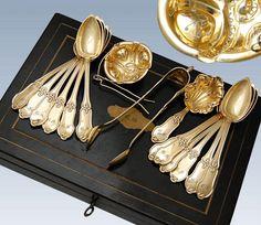 French Silver & Vermeil 15pc Tea Service Set with Brass Inlaid Ebony Box