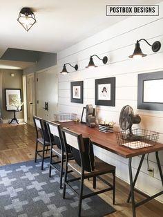 Farmhouse style Kid's Homework Area by Postbox Designs, $20 DIY rug tutorial, shiplap wall tutorial, no-sew curtain idea