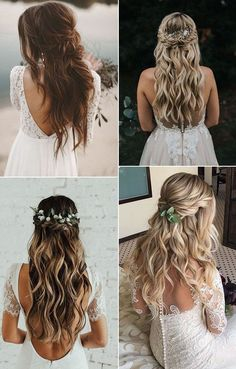 16 Effortless Boho Wedding Hairstyles to Fall In Love With- <!entry-header --> We all love the hypnotic and creative energy of boho inspired brides, which give a touch of effortless chic. Wedding Hair Down, Wedding Hairstyles For Long Hair, Wedding Hair And Makeup, Down Hairstyles, Chic Wedding, Pretty Hairstyles, Indian Hairstyles, Bohemian Wedding Hairstyles, Fall Hairstyles