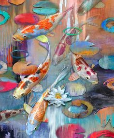 modernpainting contemporary reproduction japanese painting abstract modern japan print fish pond koi art 1 Contemporary Koi Art KOI FISH Modern Painting Reproduction Abstract Koi Pond JapanYou can find Fish and more on our website Art Koi, Fish Art, Koi Painting, Painting Edges, Bird Paintings, Original Paintings, Koi Kunst, Art Tropical, Modern Tropical