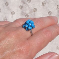 Ring in Sterling Silver with Turquoise Cluster Charms - UK Size Q £19.50