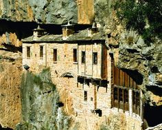 The monastery of Kipina, just outside the village of Kalarrites, Ioannina Prefecture, Epirus, Greece Places To Travel, Places To Go, Zorba The Greek, Greece Travel, Greece Trip, Interesting Buildings, Bhutan, Planet Earth, Scenery