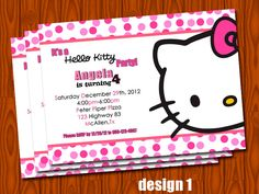 Hello Kitty - CUSTOM - birthday invitation personalized - pink  - your choice of DESIGN - DIGITAL - printable file. $6.00, via Etsy.