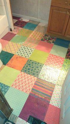 scrapbook paper floor | decoupaged scrapbook paper on my bathroom floor.