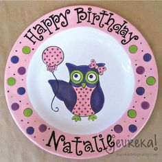 Large Ceramic Birthday Plate  10.5 Personalized by JeurekaDesign, $37.00