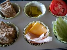 Build your own sandwiches: wheat bread, lettuce, tomato, turkey, cheese, pickles