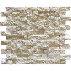 Mozaiek tegels Classic travertin / Apulia ivory (beige) cubic 2,3x4,8x1cm (prijs per matje 30x30cm)