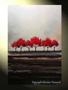 Original arte abstracto pintura árboles rojos por ChristineKrainock, $365,00