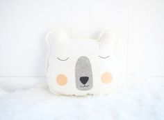 Boo & Bear - Merino wool felt sleepy bear cushion - Monochrome nursery, monochrome room, bear cushion