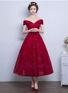 Burgundy Homecoming Dresses, Short Prom Dresses, Prom Dresses Lace, Homecoming Dresses A-Line Pretty Dresses, Elegant Dresses, Beautiful Dresses, Vintage Dresses, Vintage Tea Dress, Vintage Tea Length Dress, Beautiful Beautiful, Tea Length Wedding Dress, Tea Length Dresses