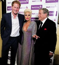 muchadoaboutroyals:  Prince Harry with Lady Gaga and Tony Bennett at the Well Child Gala at the Royal Albert Hall, June 8, 2015