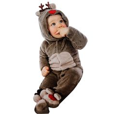3c156e7b93b Newborn Baby Clothes Girl Boy Deer Romper Winter Warm Outwear Outfits Baby  autumn and winter body