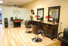 small salon, love the dressors for stations!!