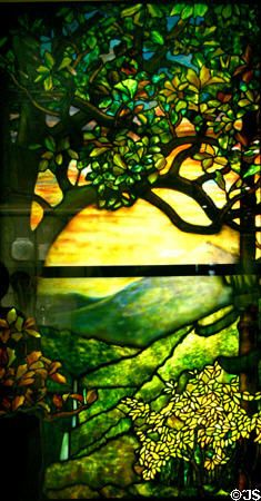 Art Nouveau stained glass window (1910) by Louis Comfort Tiffany at Corning Museum of Glass. Corning, NY.