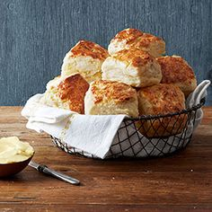 4 Ingredient Buttermilk Biscuits -  cream cheese, butter, buttermilk and self-rising flour.  Yields 10 biscuits. Slather on honey, apple butter or pumpkin butter, cinnamon butter, jelly, strawberry preserves, etc.... the list is endless.