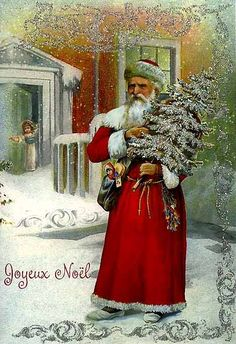 vintage Christmas Card from Germany-Christmas decorations in the stores already!!
