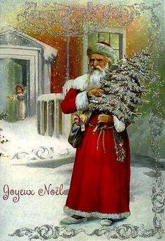 Shop Victorian French Joyeux Noel Christmas Card created by RetroMagicShop. German Christmas, Old Fashioned Christmas, Christmas Scenes, Christmas Past, Victorian Christmas, Christmas Greetings, Christmas Postcards, Father Christmas, Christmas Glitter