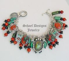 Schaef Designs chrysocolla, apple coral, black onyx, & sterling silver Southwestern charm bracelet   New Mexico