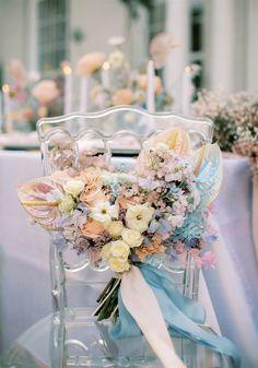 Pastel Flowers, Bridal Flowers, Whimsical Wedding, Floral Wedding, Pastel Wedding Stationery, Flower Decorations, Wedding Decorations, Beach Wedding Inspiration, Wedding Ideas