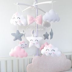 Mobile Süße, Mobile Süße, Sonogram Print Nursery Wall Art A Personalized by CanvasVows Raindrop Cloud Star Pink Baby Girl 08 pc Nursery Crib Bedding Set Embroidered Baby Bedroom, Baby Room Decor, Nursery Decor, Baby Crafts, Felt Crafts, Diy And Crafts, Girl Nursery, Girl Room, Nursery Crib