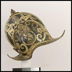 Burgonet of the Guard of Pope Julius III  Date: ca. 1550–55 Culture: Italian (Brescia) Medium: Steel, gold, bras