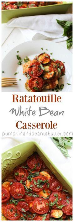 Ratatouille White Bean Casserole vegan - have with beans, asparagus, salad Vegan Casserole, Casserole Recipes, Vegetarian Recipes, Healthy Recipes, Pescatarian Recipes, Healthy Lunches, Healthy Foods, Whole Food Recipes, Cooking Recipes
