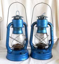 Vintage Kerosene Lanterns, Electric Blue