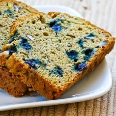Recipe for Low-Sugar and Whole Wheat Zucchini Bread with Blueberries and Pecans from Kalyn's Kitchen  #LowGlycemicDesserts