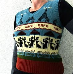 70s Paris Cafe Sweater Vest / Eiffel Tower / Fluffy Clouds Vintage Intarsia Knit  M