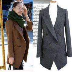In stock new 2016 winter autumn wool coat women's fashion long sleeve wool jacket overcoat Abrigos Mujer