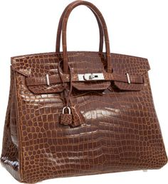 hermes miel honey brown shiny nilo crocodile 35cm birkin bag with gold hardware