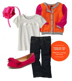Toddler Girl Outfit: Toddler Girl Inspiration Board #03: Magenta, Orange, and Gray Outfit from The Kids' Dept.