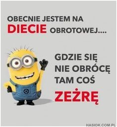Obecnie jestem na diecie Best Quotes, Funny Quotes, Scary Funny, Fun Funny, Weekend Humor, Funny Mems, Man Humor, Sentences, Minions