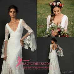2016 Gorgeous Lace Sheath Beach Bohemian Wedding Dresses Deep V-Neck Backless Ruffled Illusion Long Sleeve Vintage Garden Bridal Gowns Online with $129.01/Piece on Magicdress2011's Store | DHgate.com