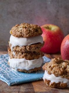 Apple Pie Ala Mode Ice Cream Sandwiches. Warm apple pie cookies surrounding cool vanilla ice cream.