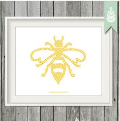 Printable Yellow Bee Print - Children's Art - 8x10 Art Print - INSTANT DOWNLOAD by greenoriginals on Etsy