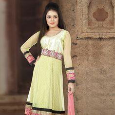 Pastel Green Net Readymade Anarkali Churidar Kameez