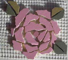 Crafty Stuff: Mosaic Insert Pink Rose: Mosaic made easy!