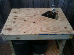 Garden Workbench with Grey Water Sink Outdoor Sinks, Kitchen Sink, Faucet, Diy Projects, Backyard, Grey, Water, Table, Furniture